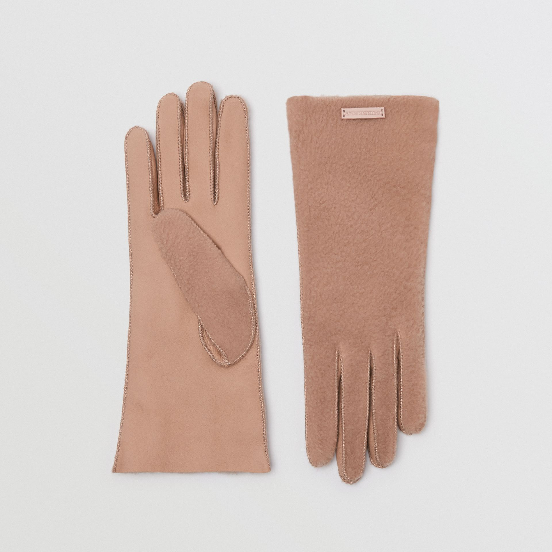 Shearling and Leather Gloves in Dusty Pink | Burberry - gallery image 0