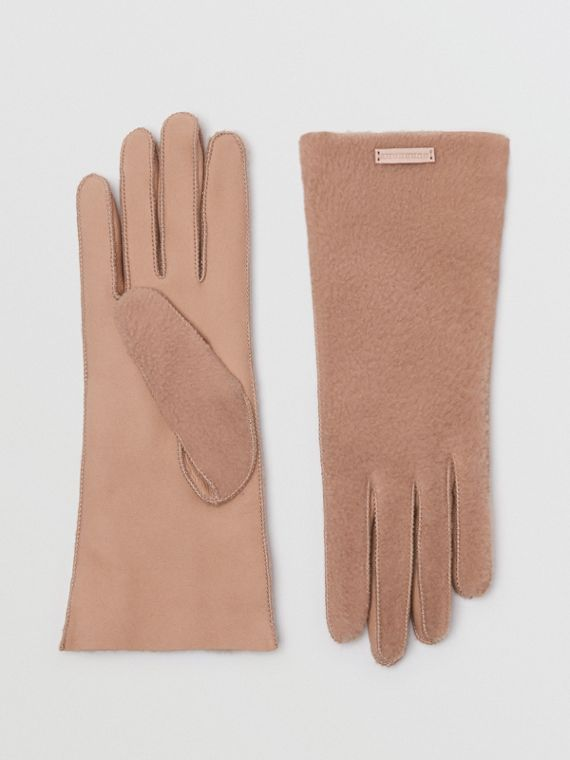 Shearling and Leather Gloves in Dusty Pink