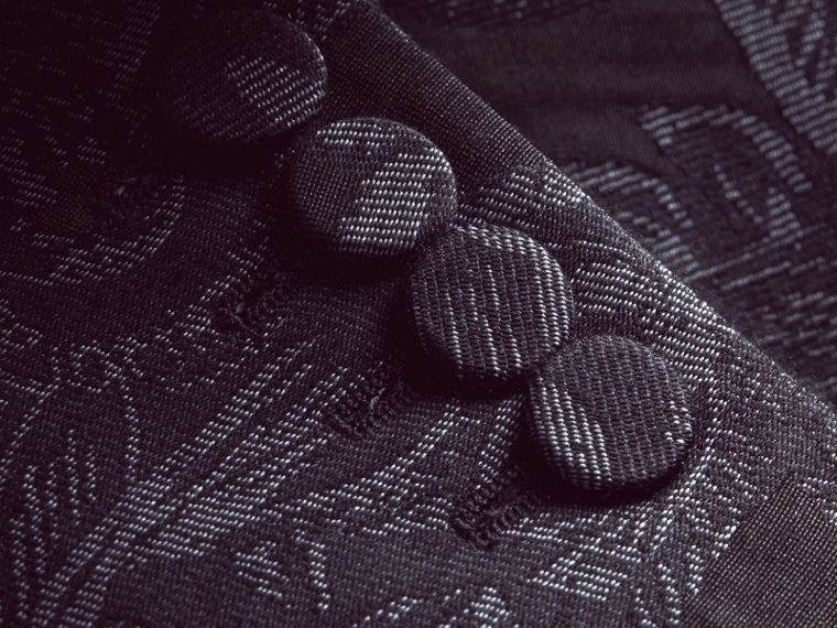 Slim Fit Beasts Fil Coupé Wool Silk Tailored Jacket in Stone Blue - Men | Burberry - cell image 1
