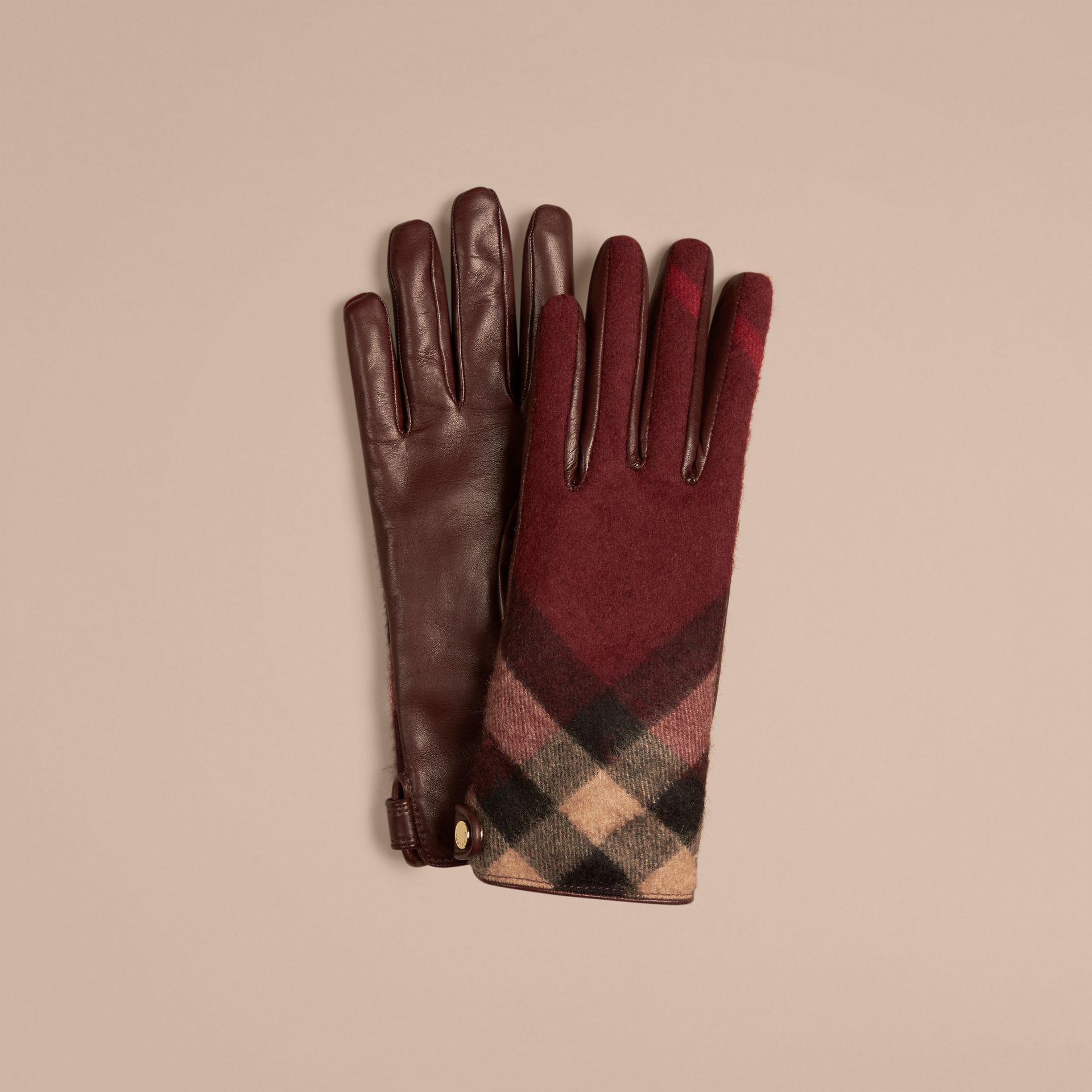 Leather and Check Cashmere Gloves in Claret - gallery image 1