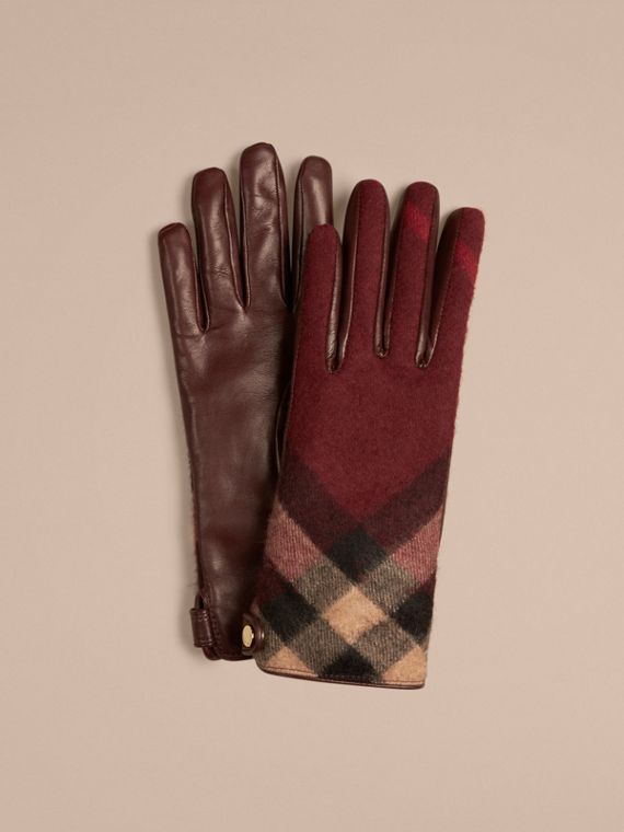Leather and Check Cashmere Gloves in Claret