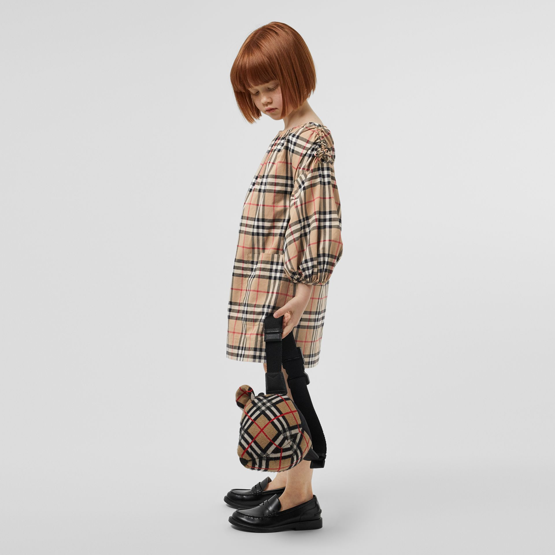 Gathered Sleeve Vintage Check Cotton Dress in Archive Beige | Burberry Singapore - gallery image 2