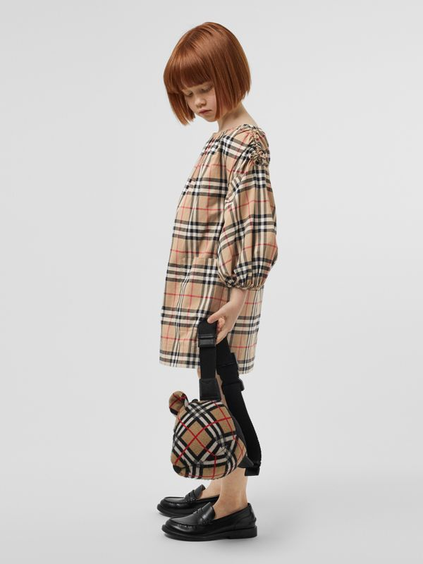 Gathered Sleeve Vintage Check Cotton Dress in Archive Beige | Burberry Australia - cell image 2