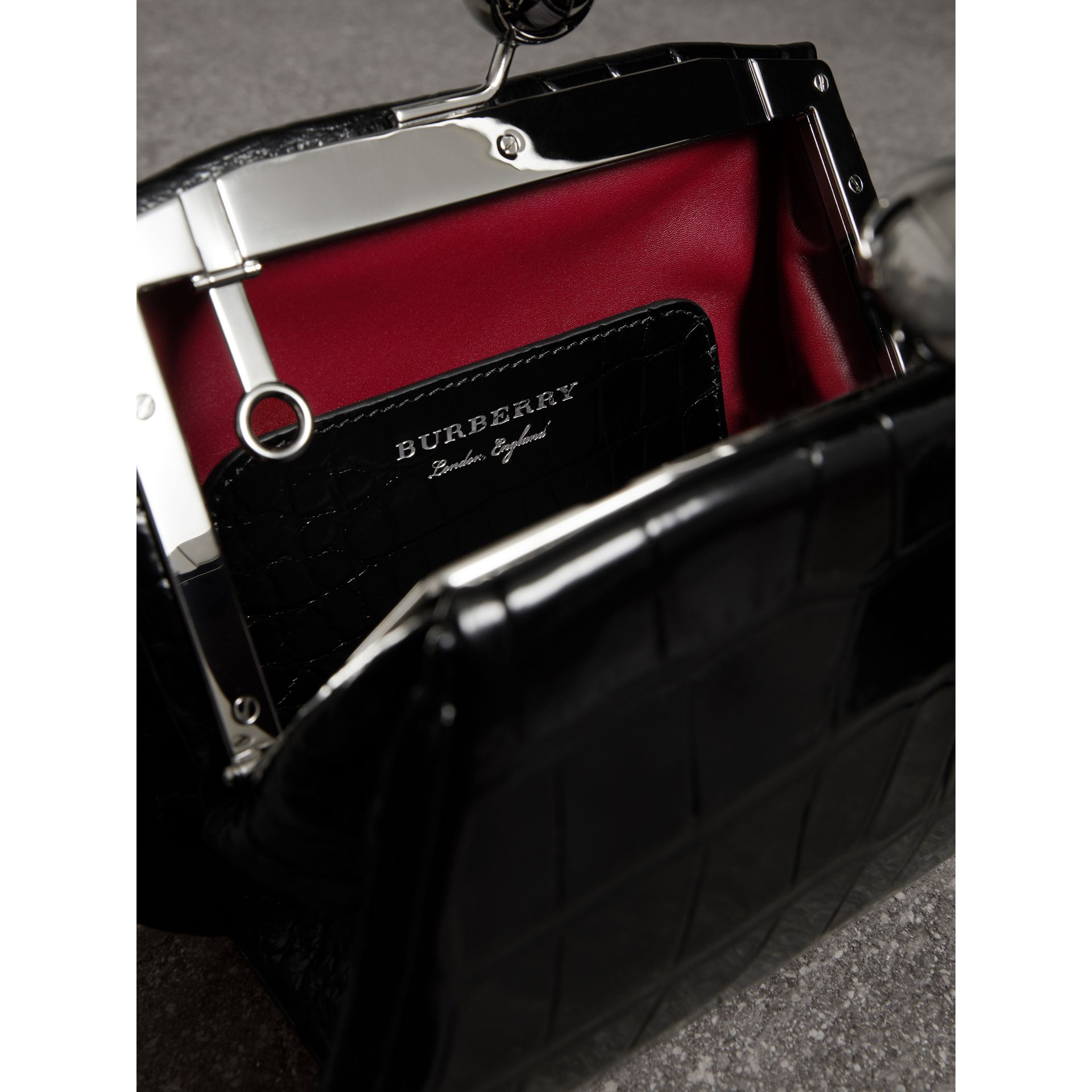 Small Alligator Metal Frame Clutch Bag in Black - Women | Burberry - gallery image 5
