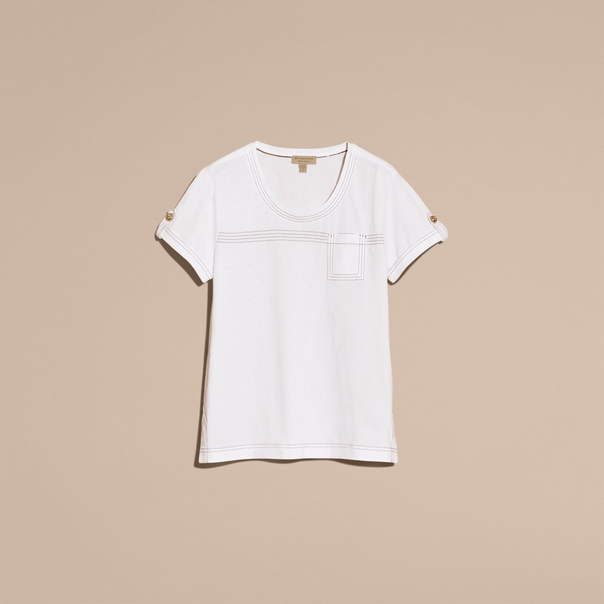 White Topstitch Detail Cotton T-shirt White - gallery image 4