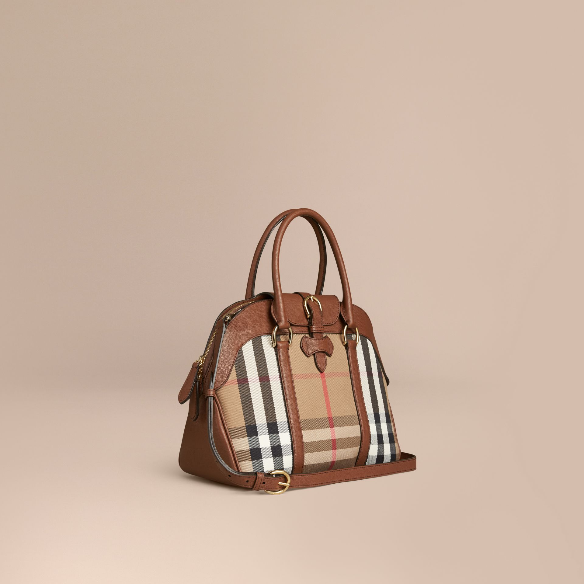 Tan Medium House Check and Leather Bowling Bag - gallery image 1