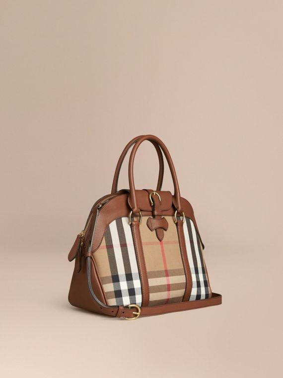 Bolso bowling mediano de checks House y piel