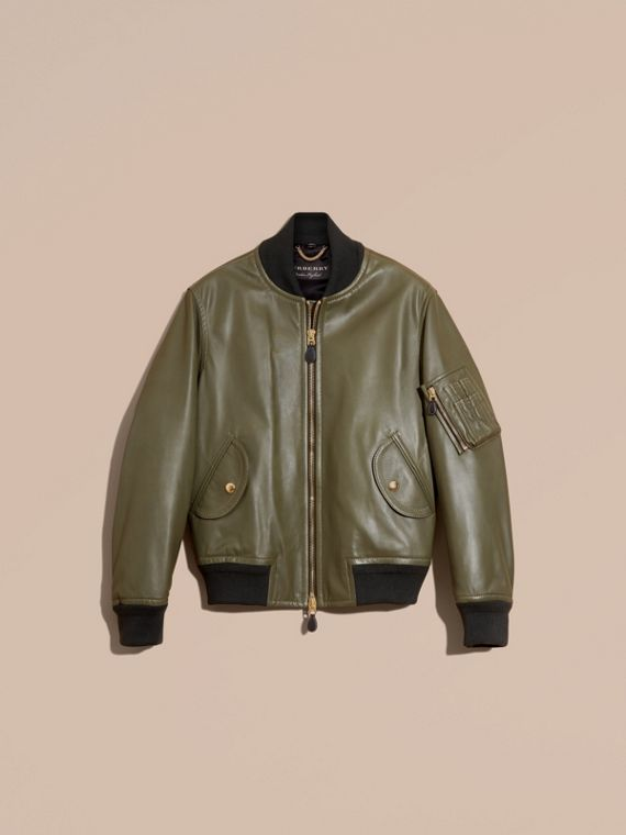 Light military green Lambskin Bomber Jacket - cell image 3