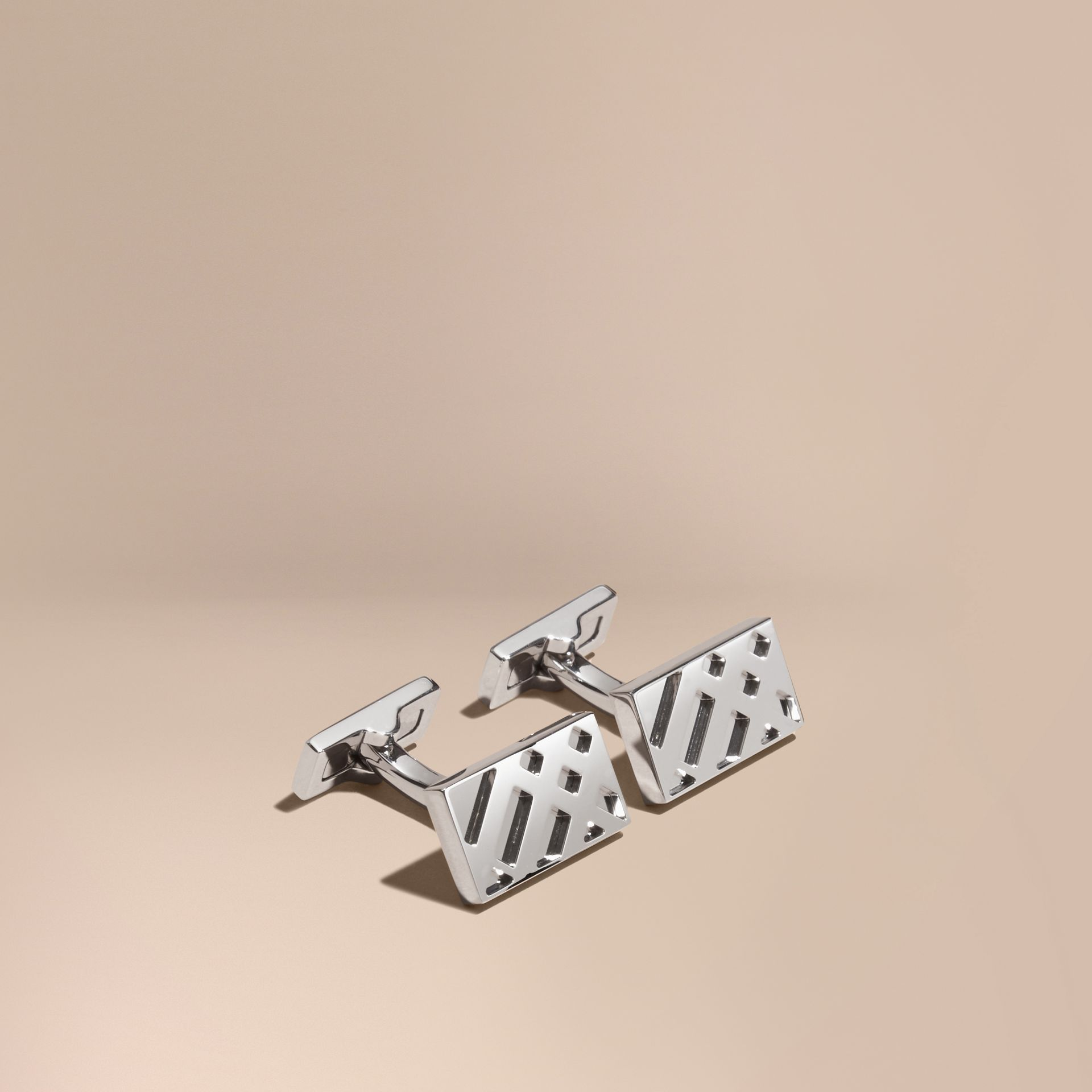 Check-Engraved Sterling Silver Cufflinks - Men | Burberry Australia - gallery image 1