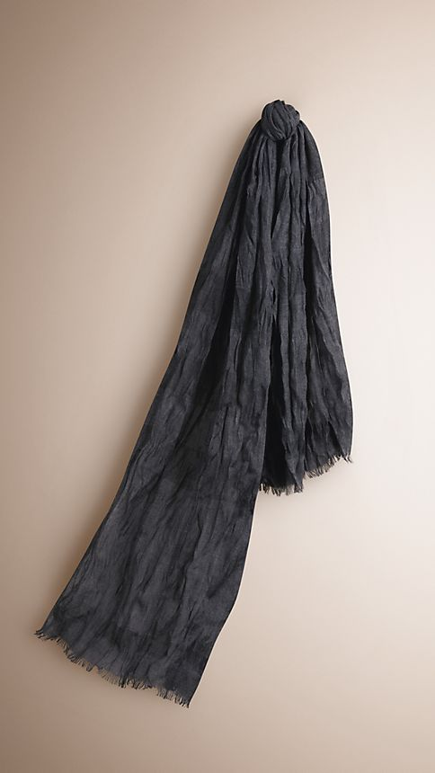 Dark charcoal check Check Cashmere Crinkled Scarf - Image 1