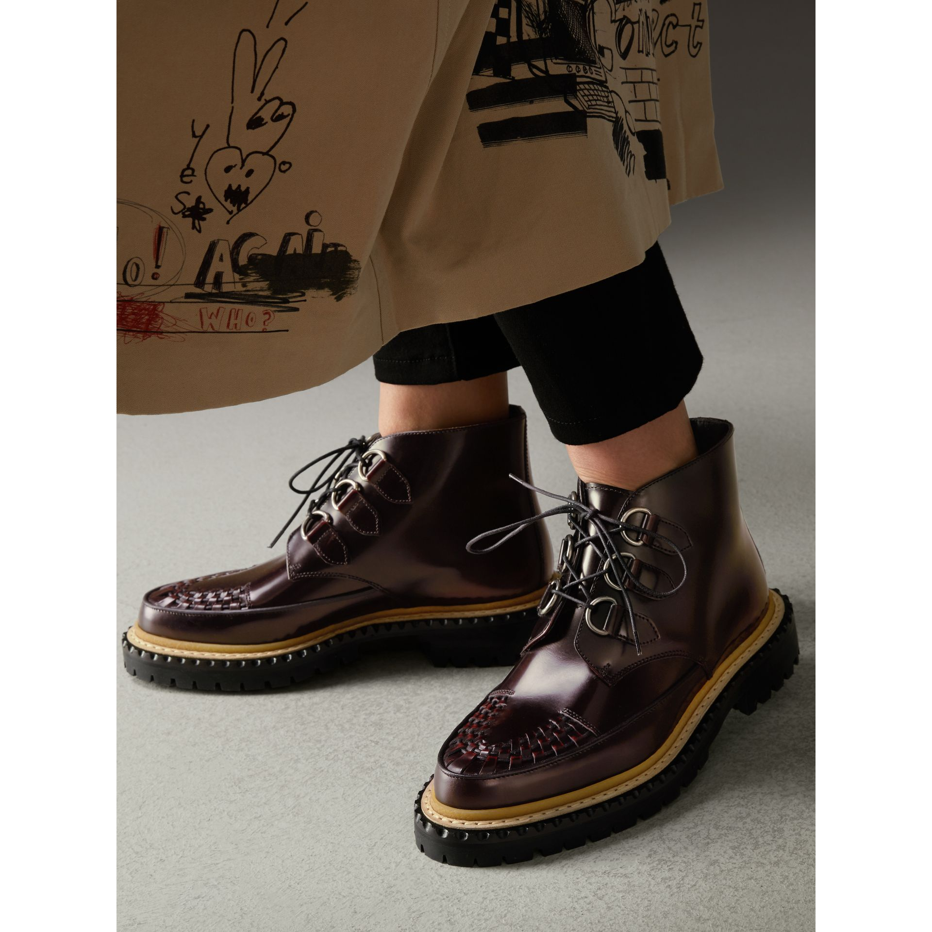 Woven-toe Polished Leather Ankle Boots in Bordeaux - Women | Burberry - gallery image 2