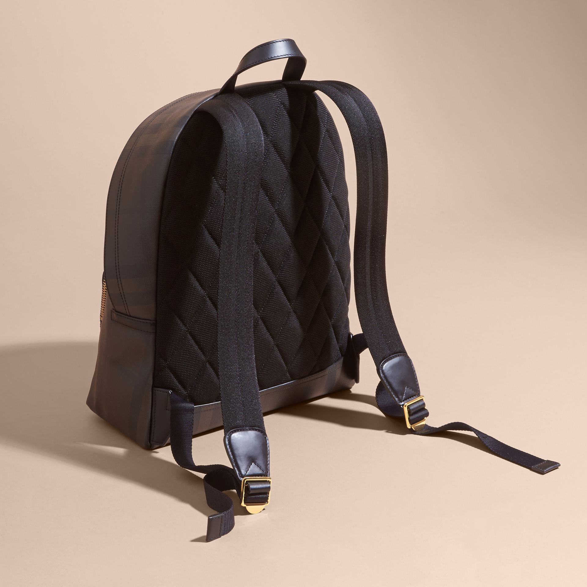 Chocolate/black Leather-trimmed London Check Backpack Chocolate/black - gallery image 4