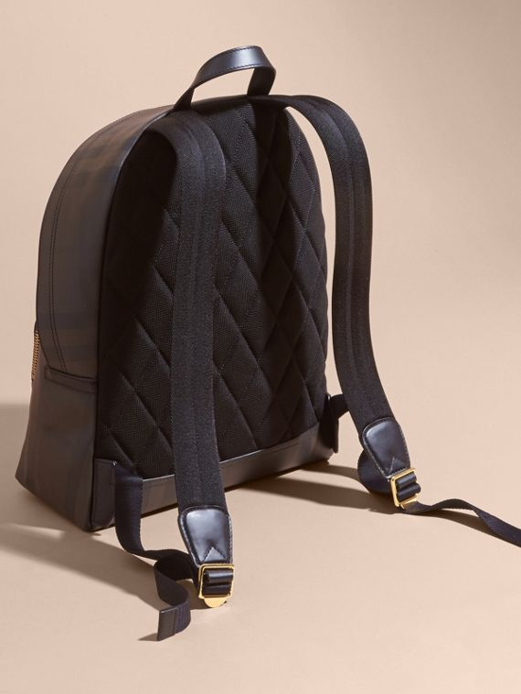 Chocolate/black Leather-trimmed London Check Backpack Chocolate/black - cell image 3