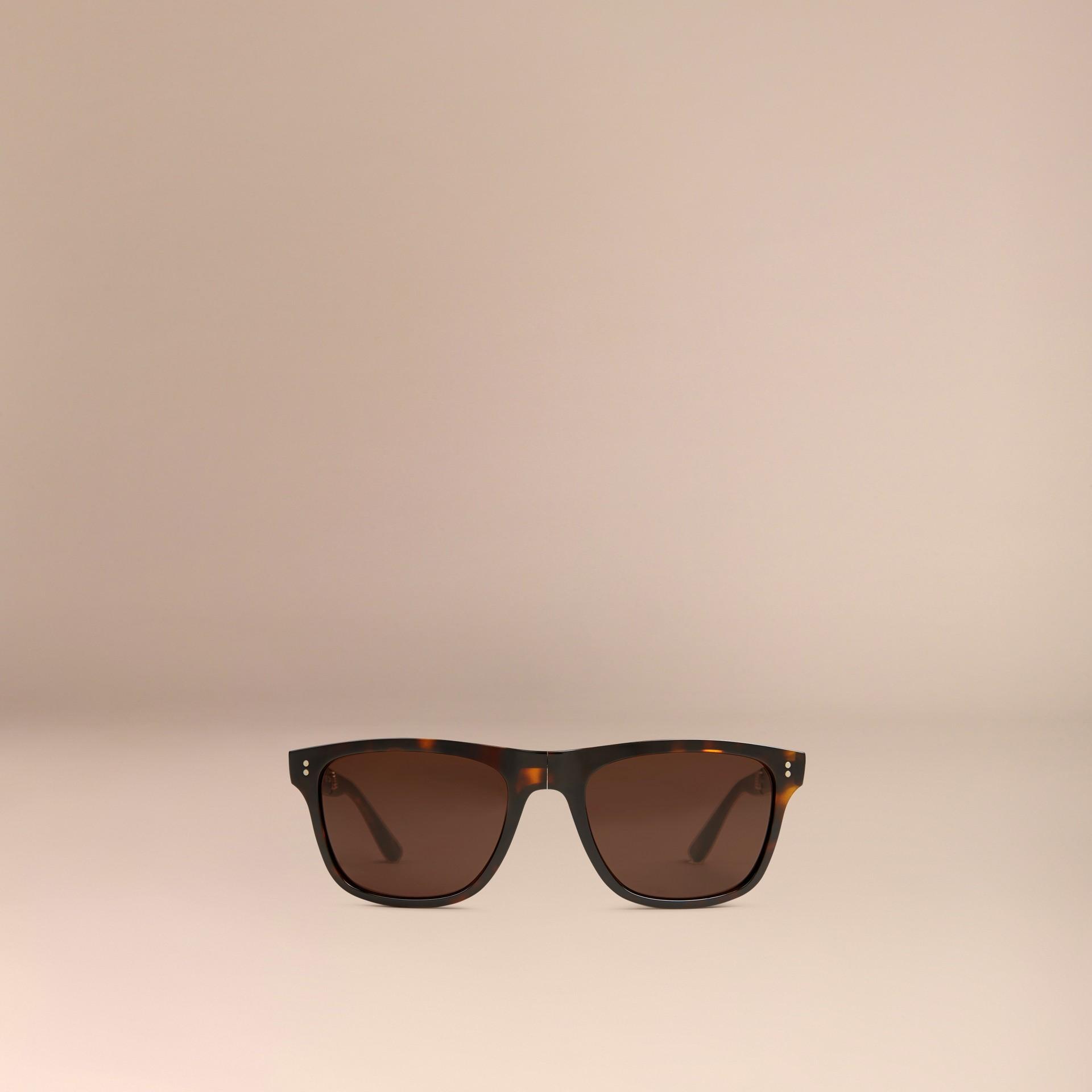 Marrone scuro Occhiali da sole con montatura rettangolare pieghevole Marrone Scuro - immagine della galleria 3