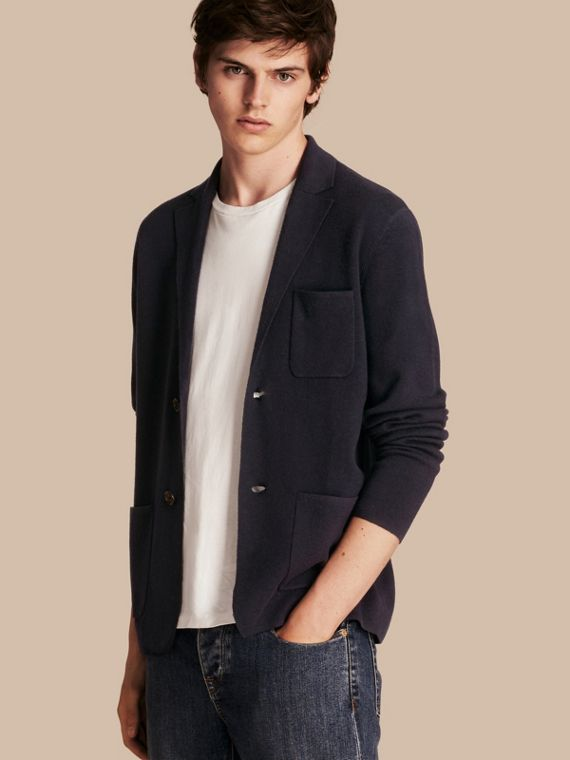 Wool Cashmere Knitted Jacket Navy