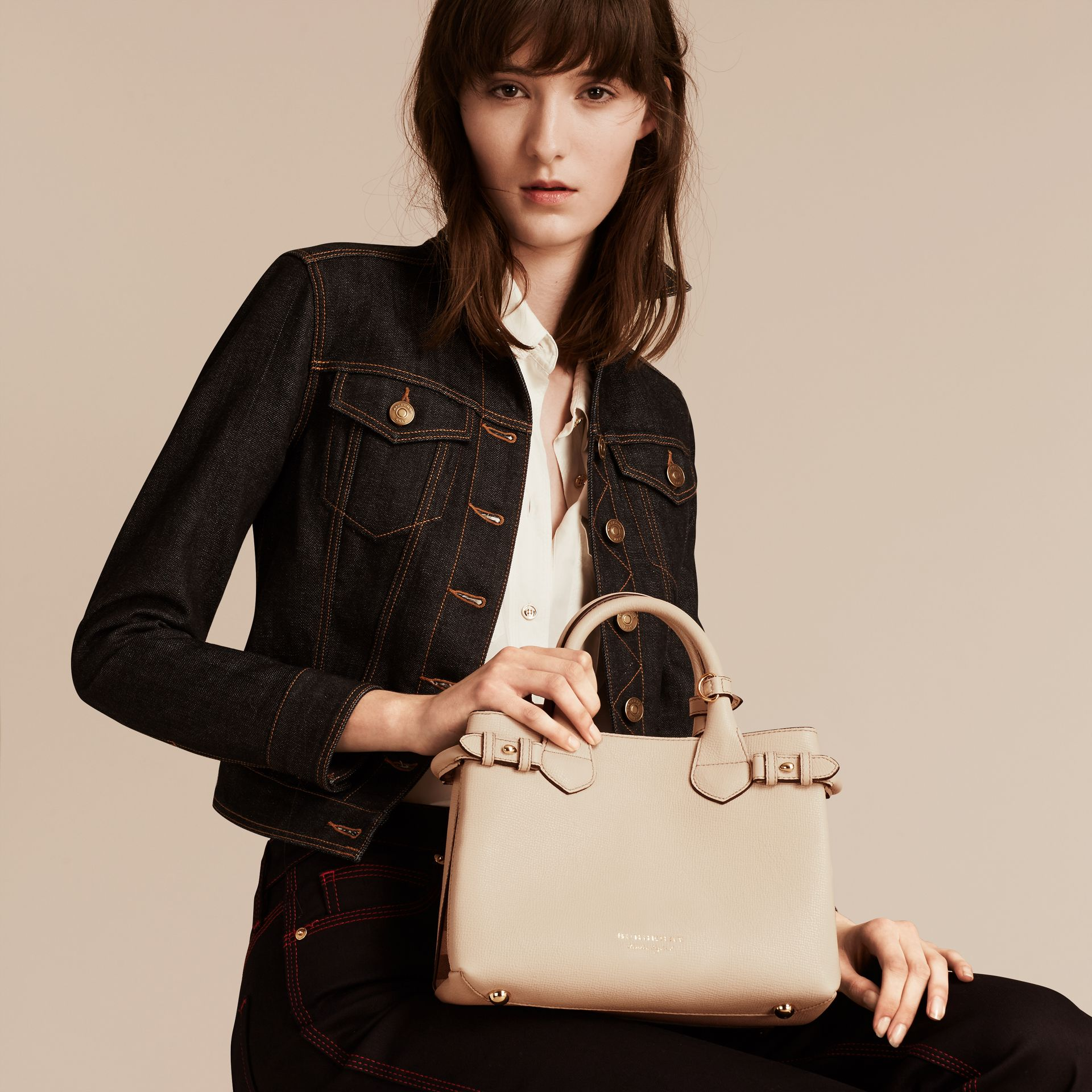 The Small Banner in Leather and House Check in Limestone - Women | Burberry - gallery image 3