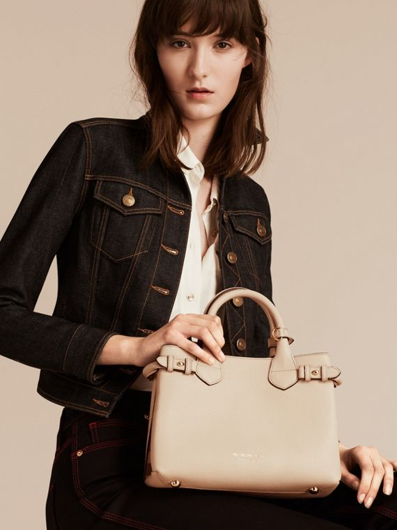 The Small Banner in Leather and House Check in Limestone - Women | Burberry - cell image 2