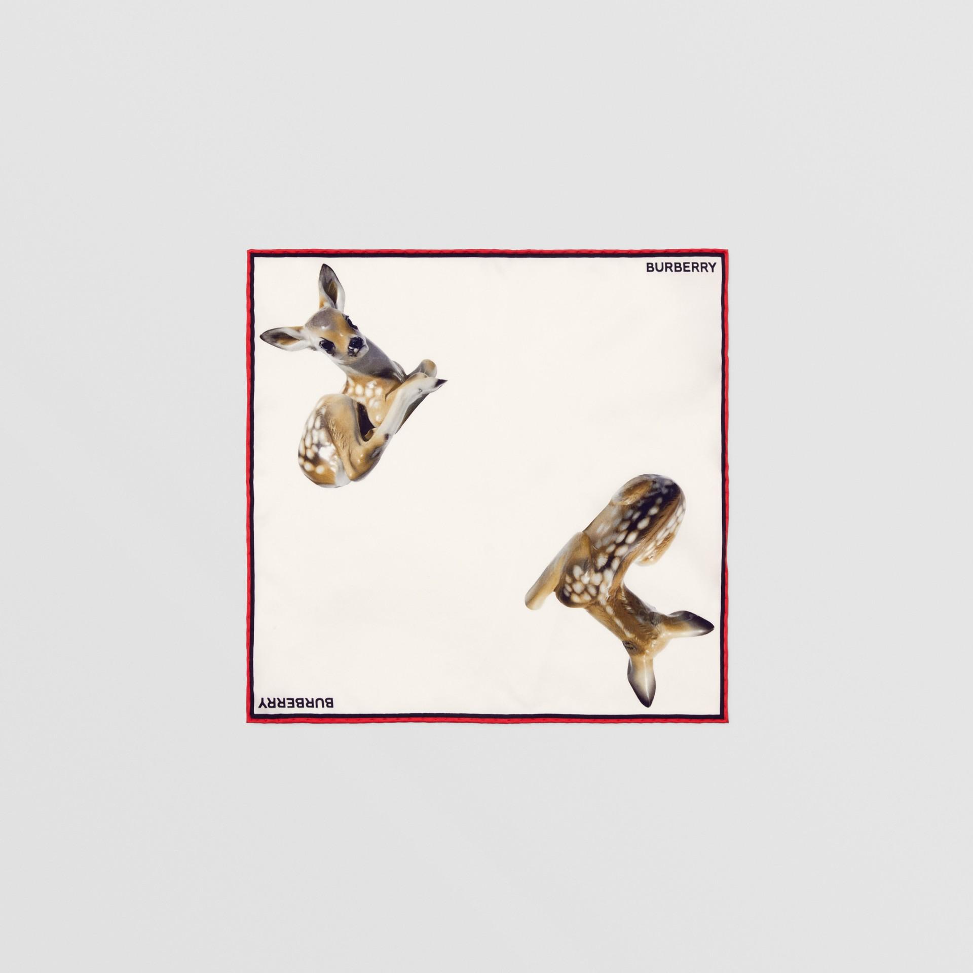 Deer Print Silk Pocket Square in White - Men | Burberry United Kingdom - gallery image 0