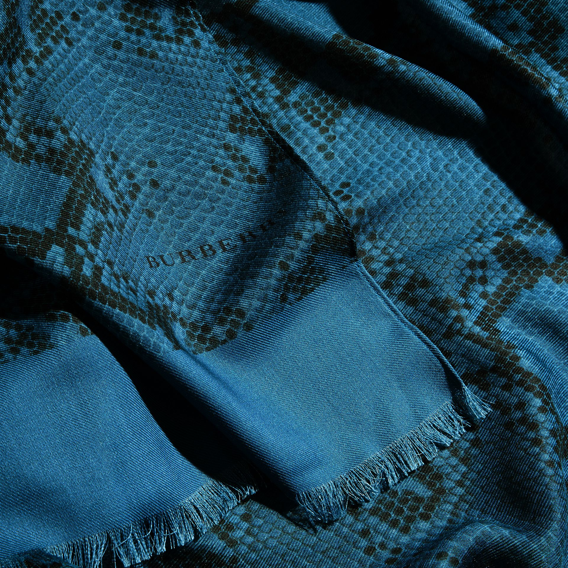 Mineral blue Lightweight Python Print Wool Cashmere Silk Poncho Mineral Blue - gallery image 2