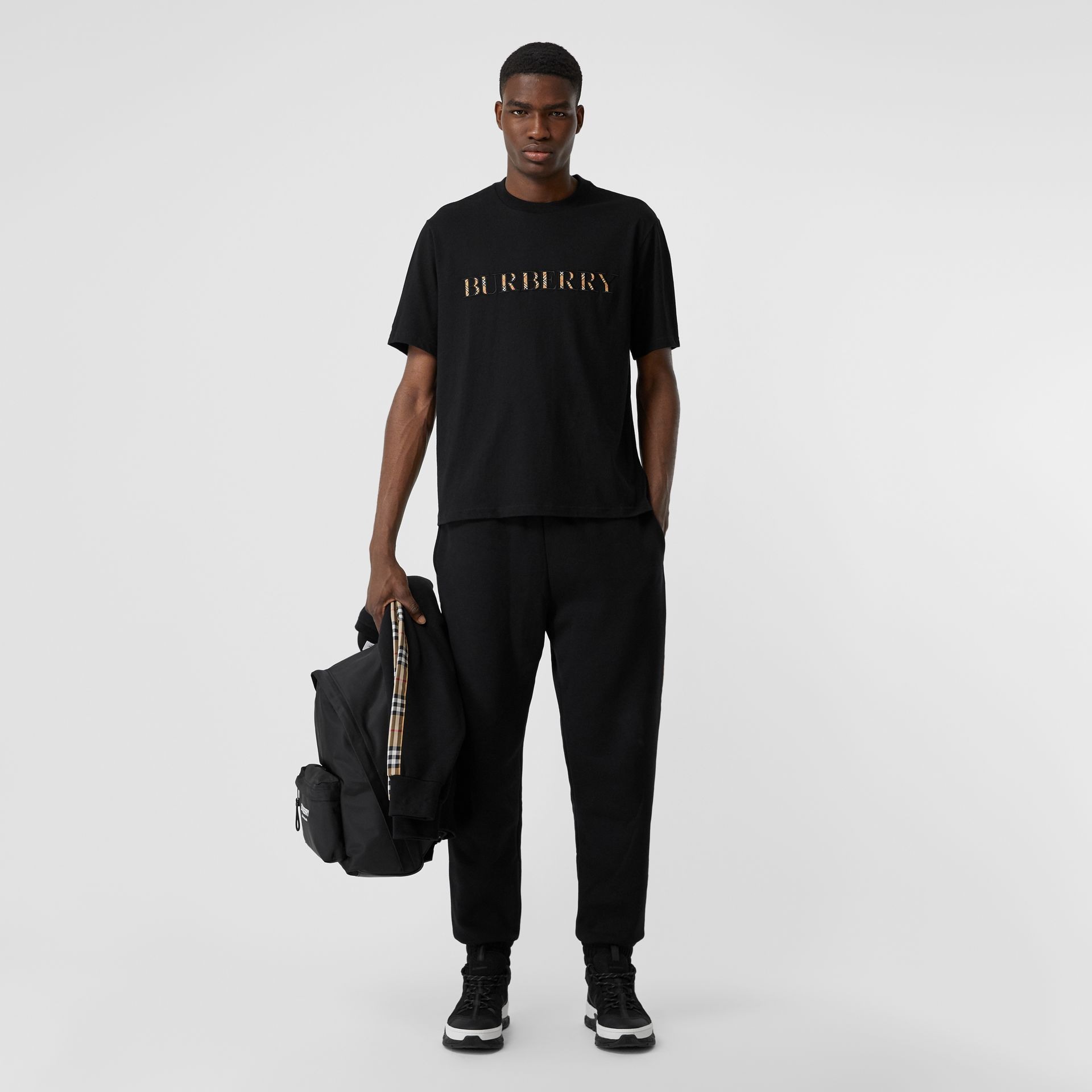 Embroidered Check Logo Cotton T-shirt in Black - Men | Burberry - gallery image 0