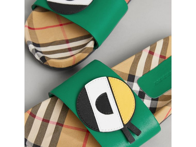 Eye Appliqué Vintage Check and Leather Slides in Bright Pigment Green | Burberry - cell image 1