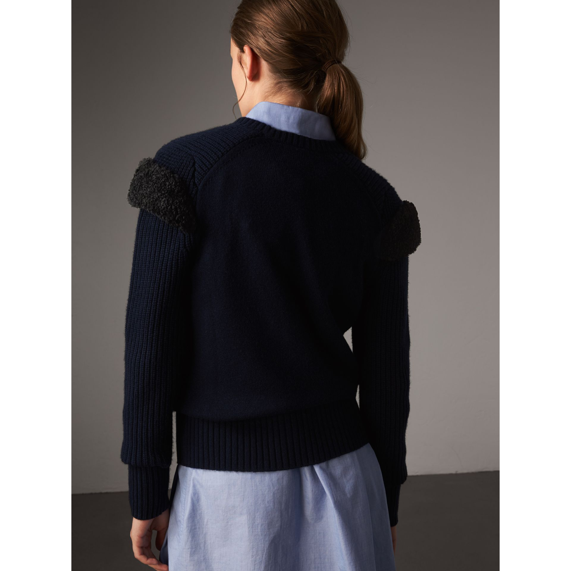 Shearling Trim Ribbed Wool Cashmere Sweater in Navy - Women | Burberry - gallery image 3