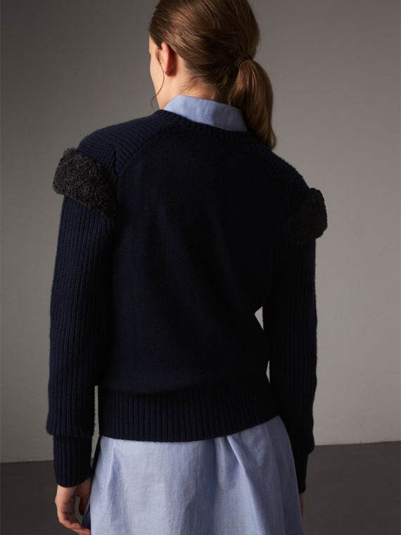 Shearling Trim Ribbed Wool Cashmere Sweater in Navy - Women | Burberry - cell image 2