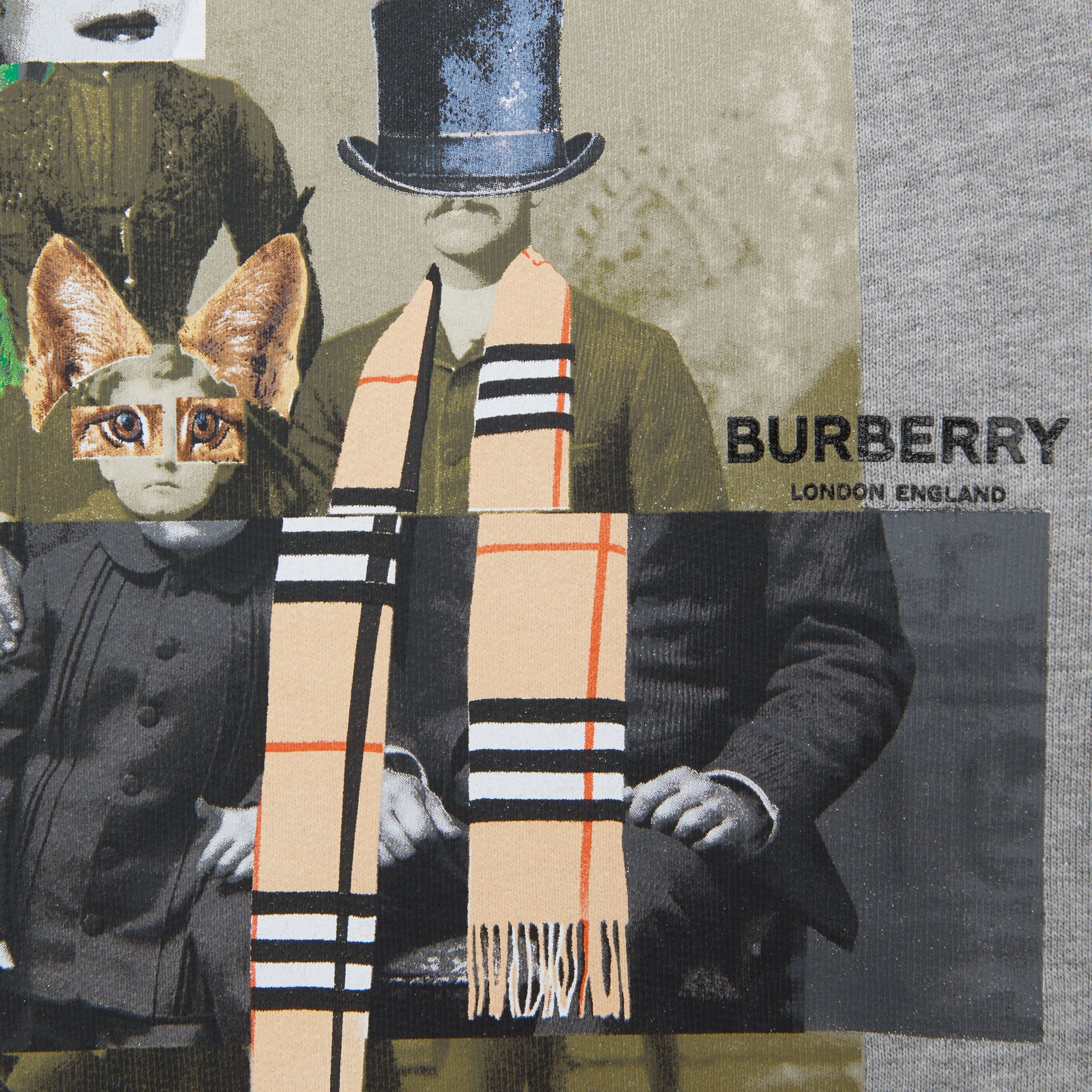 Collage Print Cotton Blend Sweatshirt in Grey Melange | Burberry - gallery image 6