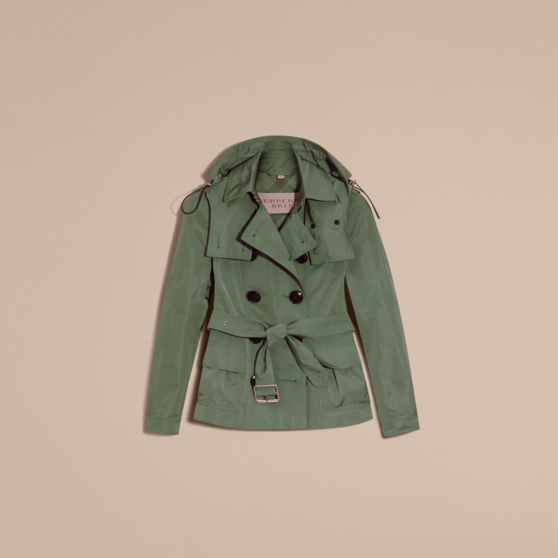 Eucalyptus green Showerproof Taffeta Trench Jacket with Detachable Hood Eucalyptus Green - gallery image 4