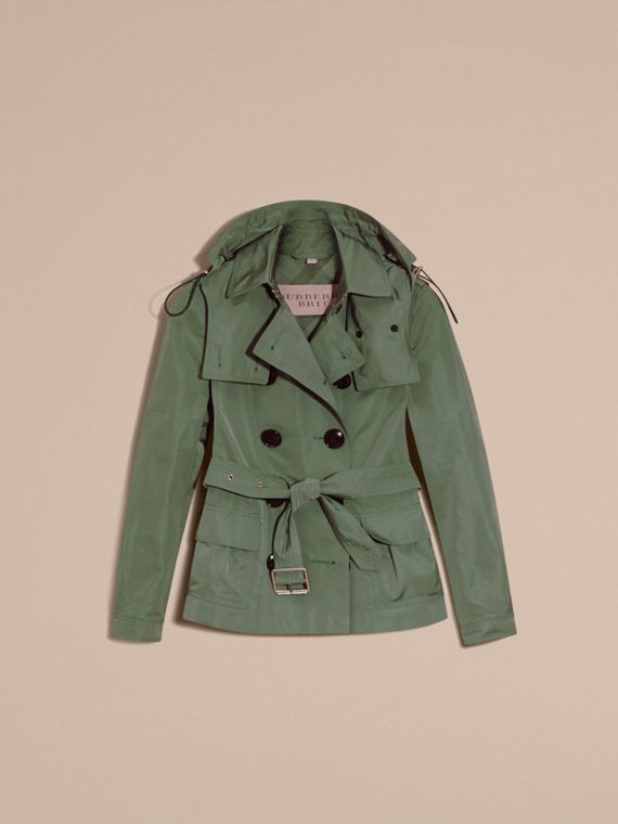 Eucalyptus green Showerproof Taffeta Trench Jacket with Detachable Hood Eucalyptus Green - cell image 3