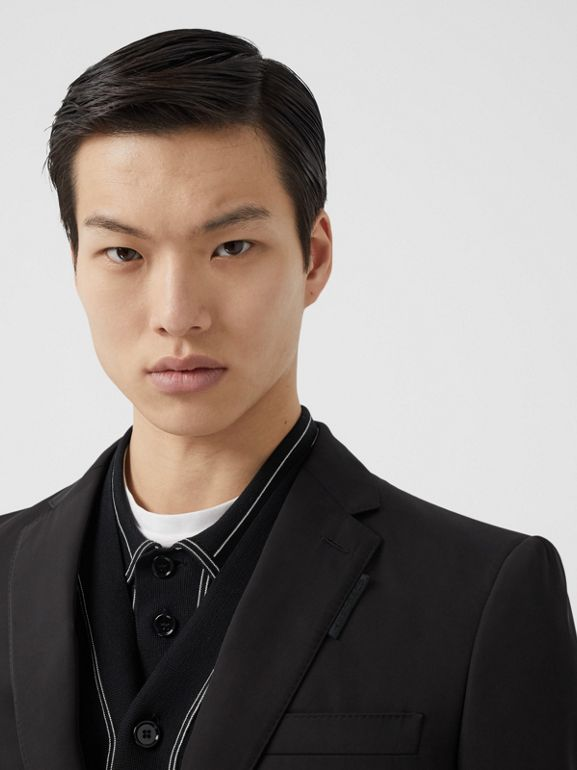 Classic Fit Stripe Detail Technical Twill Tailored Jacket in Black - Men | Burberry United Kingdom - cell image 1