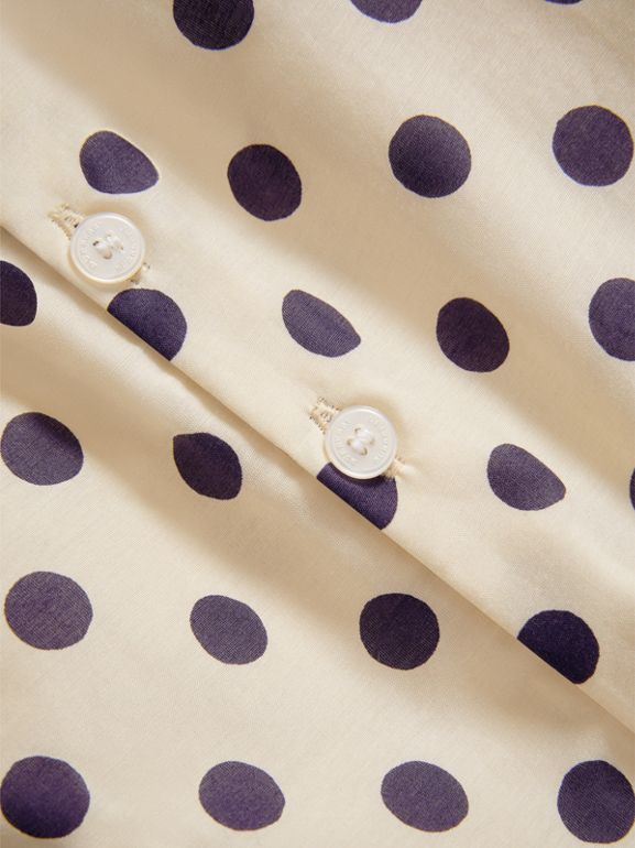 Spot Print Cotton Silk A-line Dress in Natural White | Burberry - cell image 1