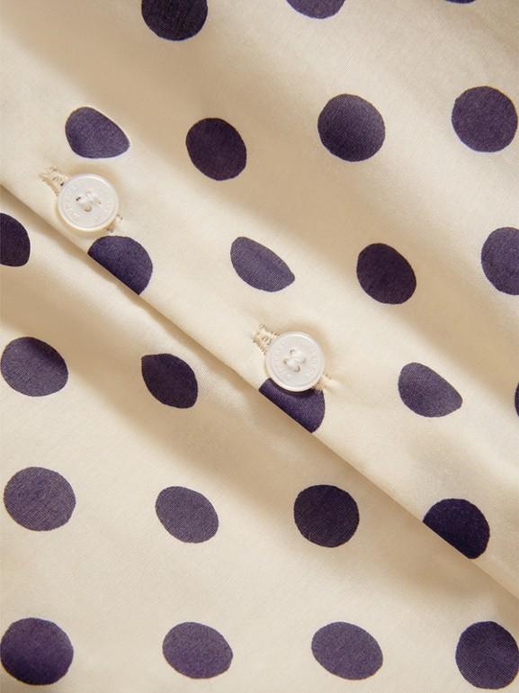 Vestitino svasato in cotone e seta con stampa a pois (Bianco Naturale) | Burberry - cell image 1