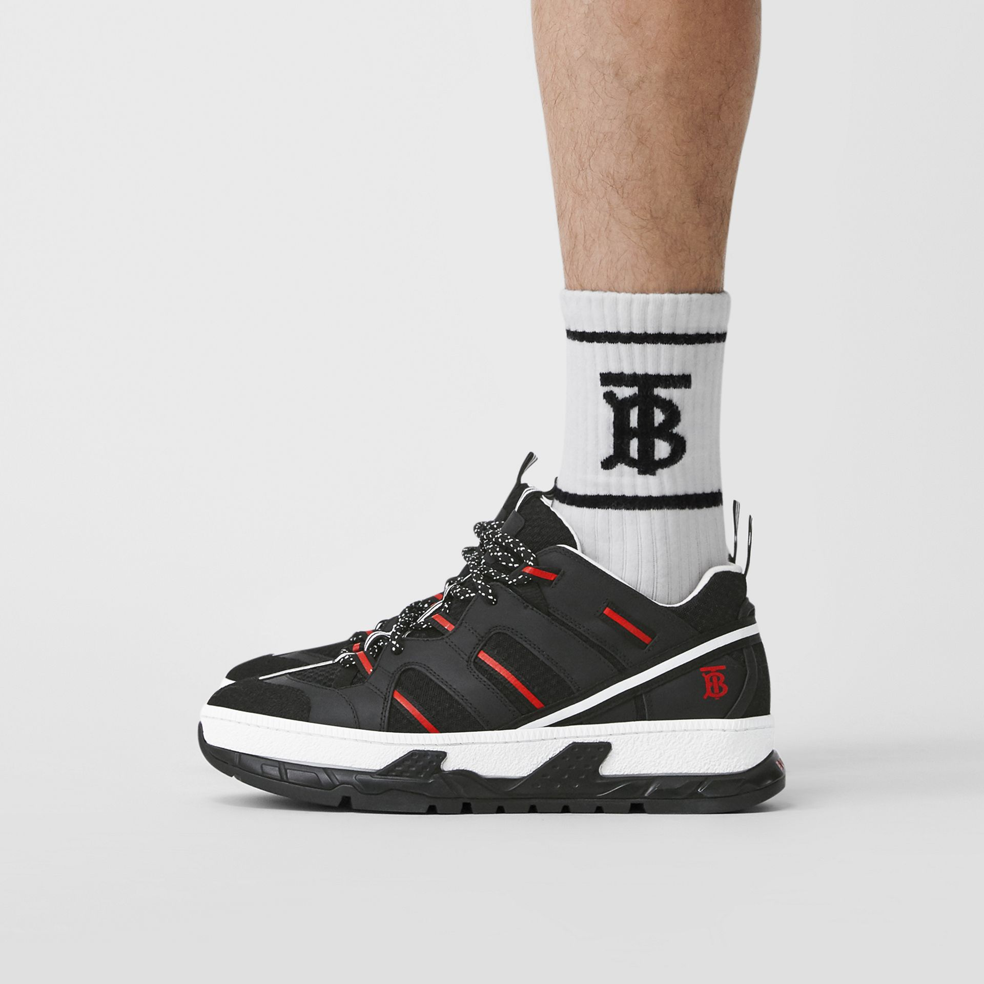 Mesh and Nubuck Union Sneakers in Black/red - Men | Burberry Hong Kong S.A.R - gallery image 2