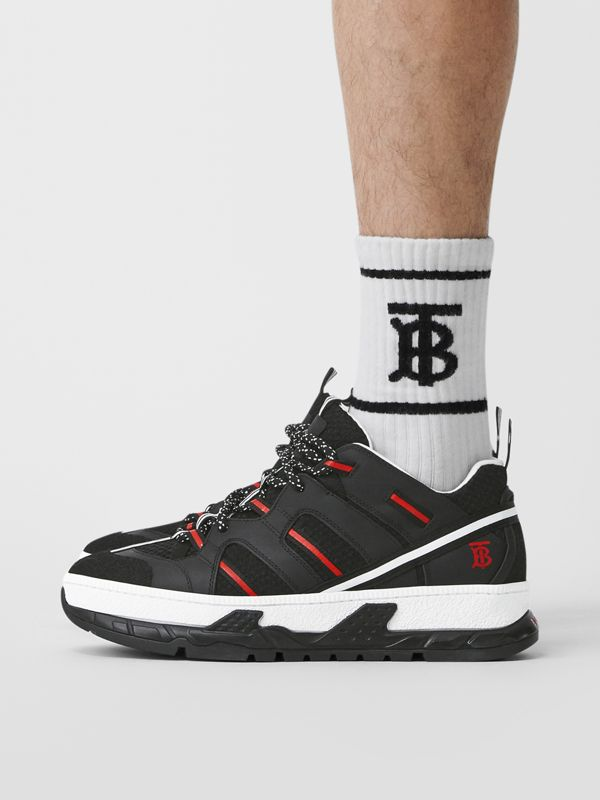 Mesh and Nubuck Union Sneakers in Black/red - Men | Burberry Hong Kong - cell image 2