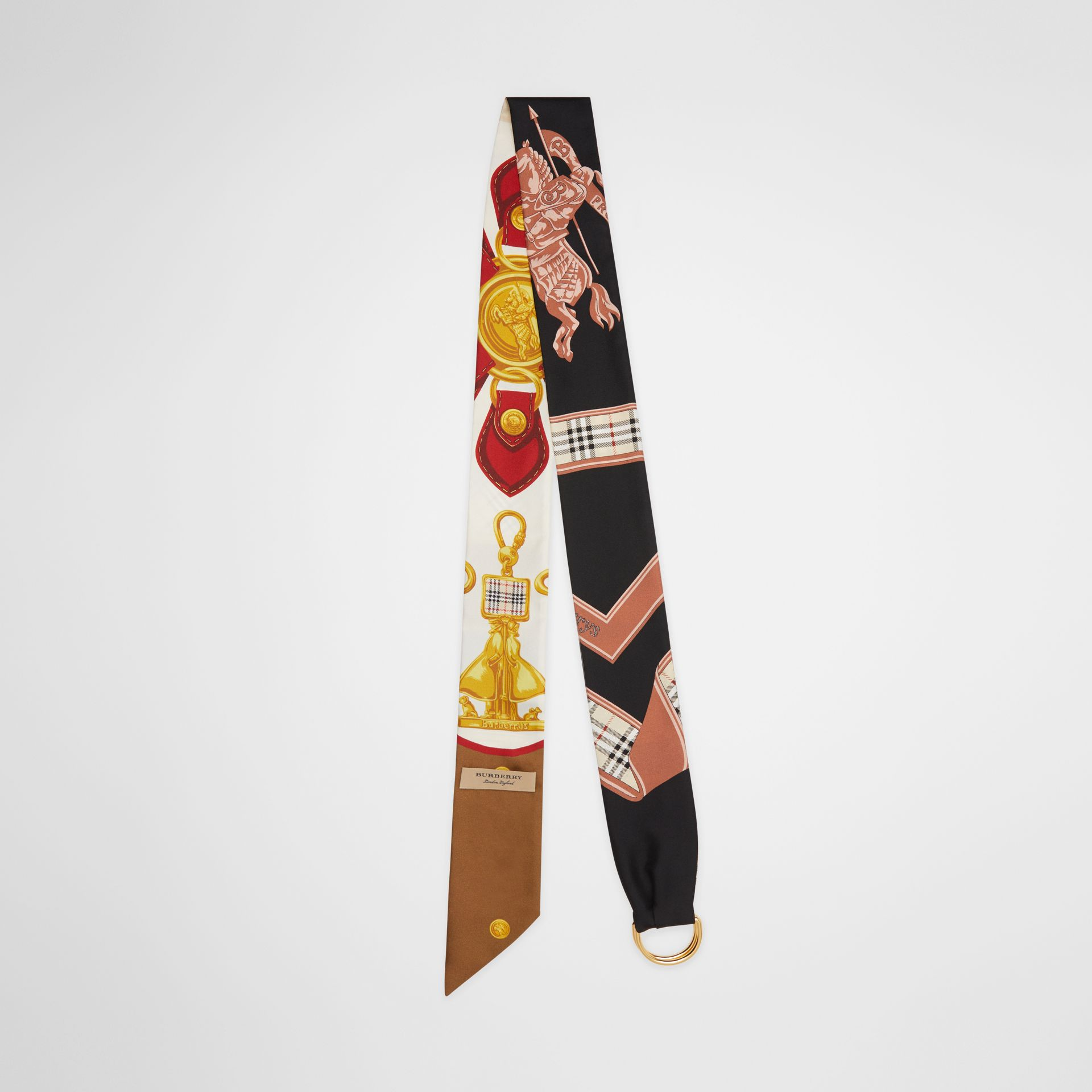 D-ring Detail Archive Print Silk Skinny Scarf in Multicolour - Women | Burberry - gallery image 0