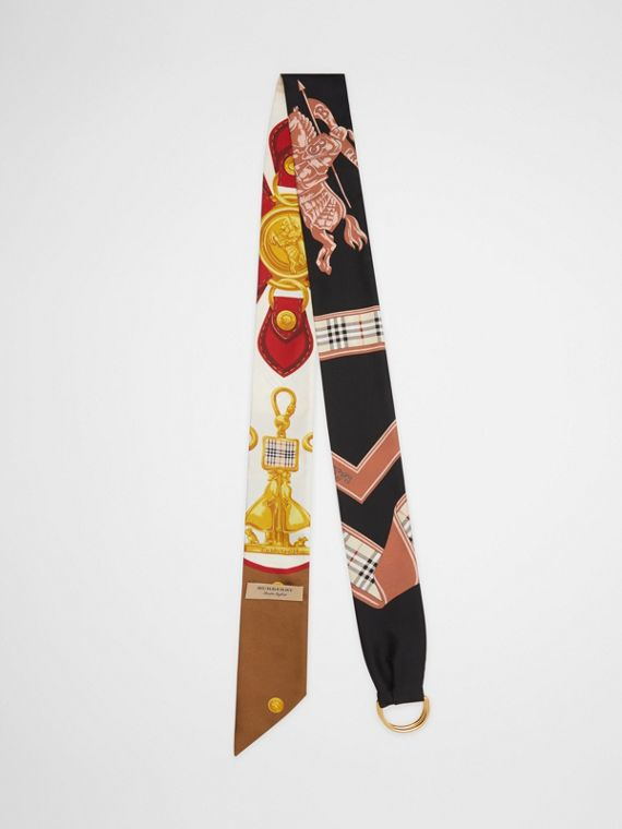 D-ring Detail Archive Print Silk Skinny Scarf in Multicolour