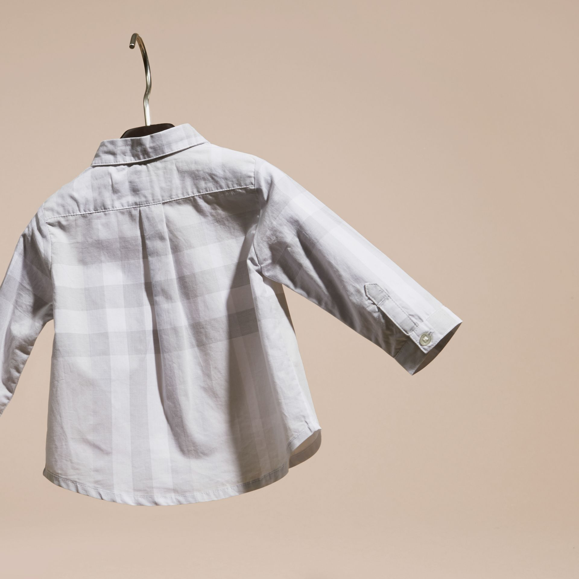 Washed Check Cotton Shirt Pale Grey - gallery image 4