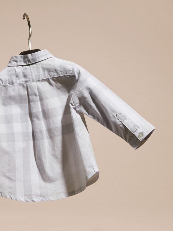 Washed Check Cotton Shirt Pale Grey - cell image 3