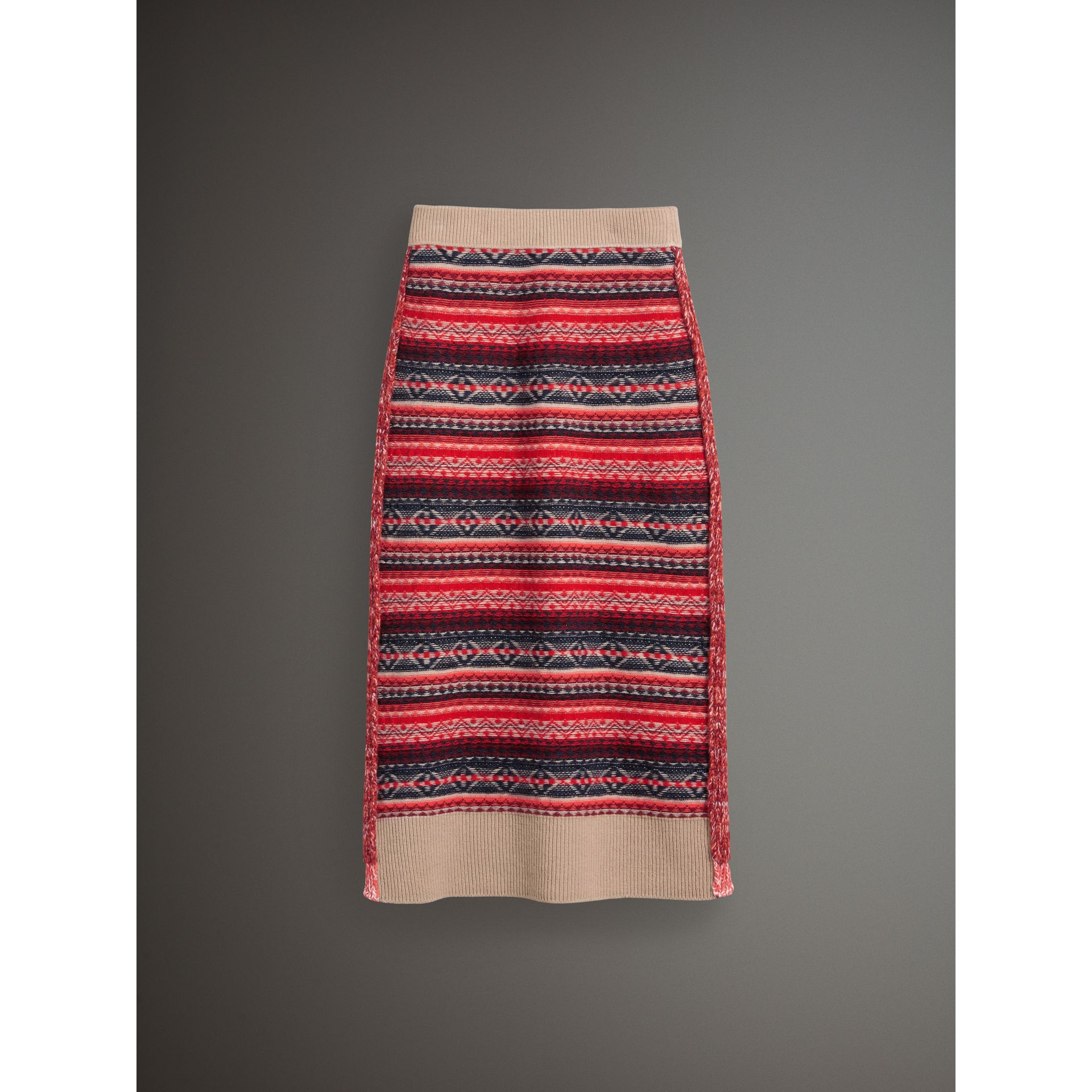 Fair Isle and Cable Knit Wool Cashmere Blend Skirt in Multicolour - Women | Burberry Hong Kong - gallery image 3