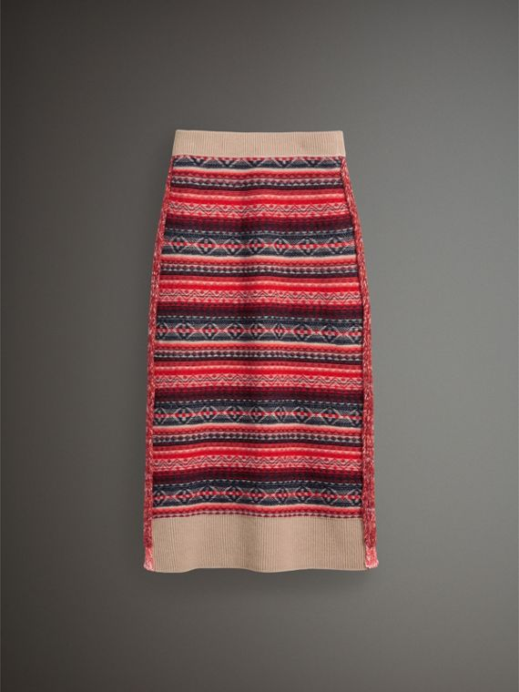 Fair Isle and Cable Knit Wool Cashmere Blend Skirt in Multicolour - Women | Burberry Canada - cell image 3