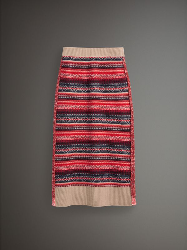 Fair Isle and Cable Knit Wool Cashmere Blend Skirt in Multicolour - Women | Burberry - cell image 3