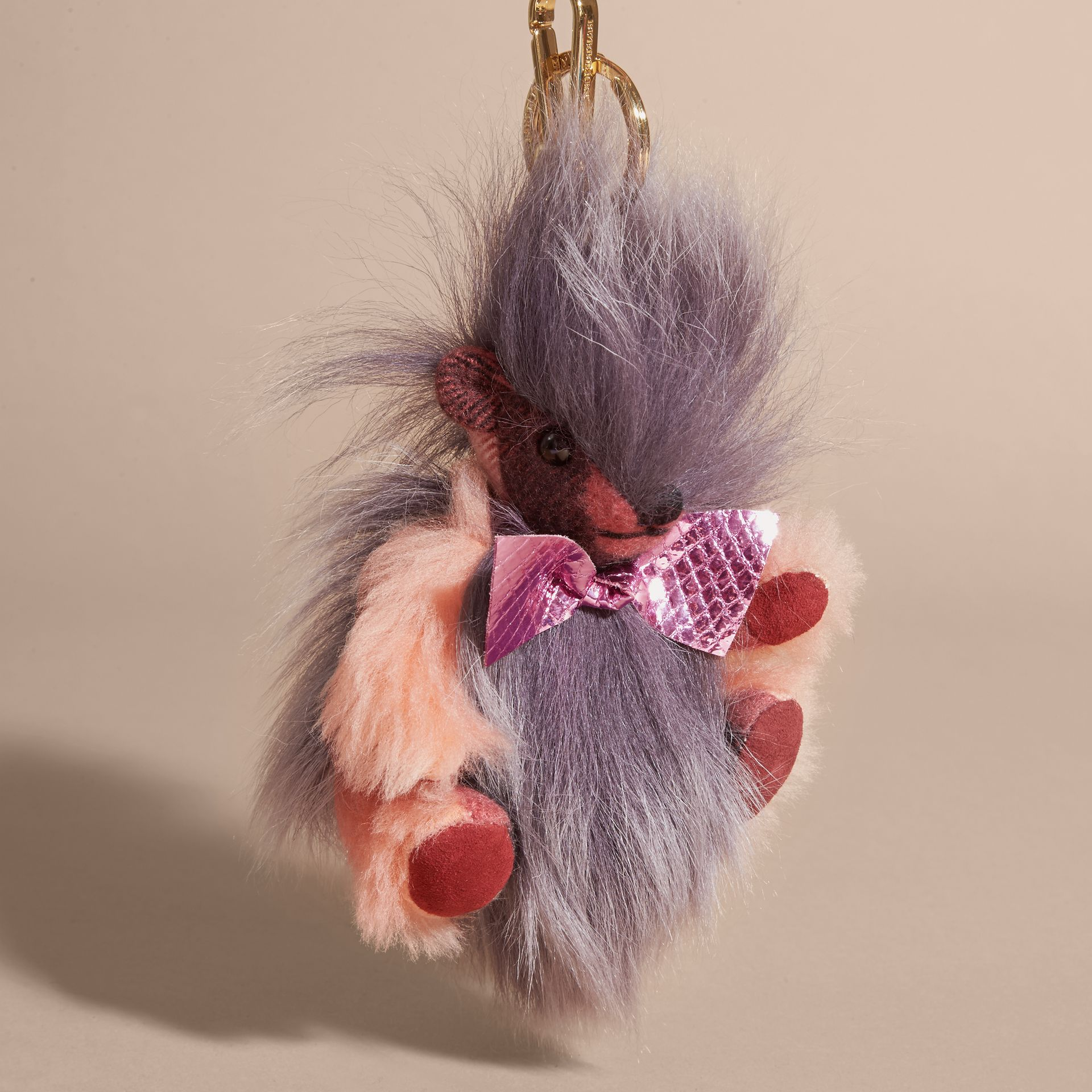 Thomas Bear Pom-Pom Charm in Check Cashmere in Rose Pink - gallery image 4