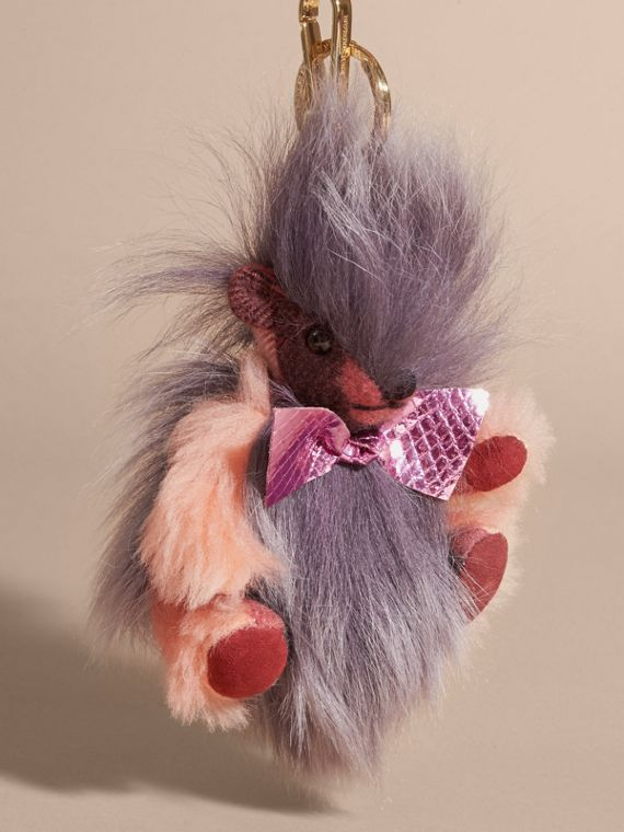 Thomas Bear Pom-Pom Charm in Check Cashmere in Rose Pink - cell image 3