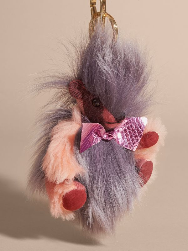 Thomas Bear Pom-Pom Charm in Check Cashmere in Rose Pink - Women | Burberry - cell image 3