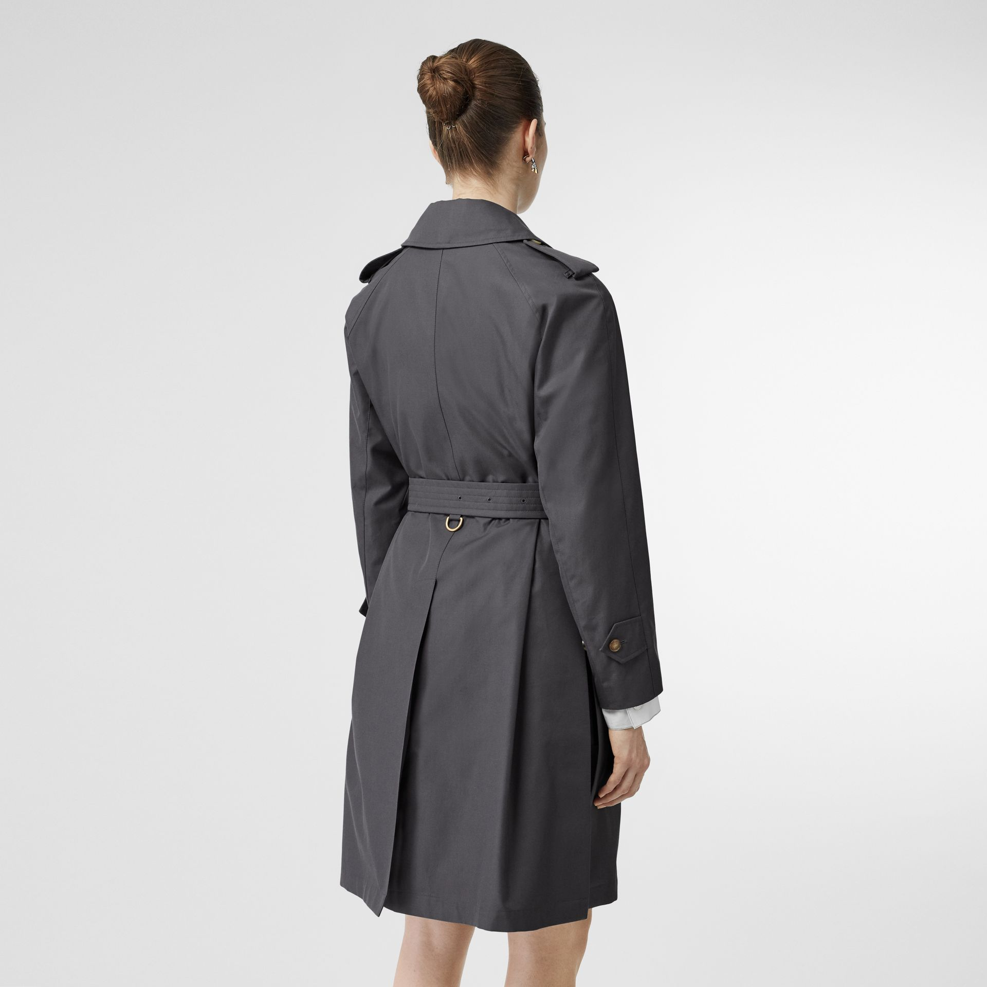 Cotton Gabardine Belted Car Coat in Mid Grey - Women | Burberry Singapore - gallery image 2