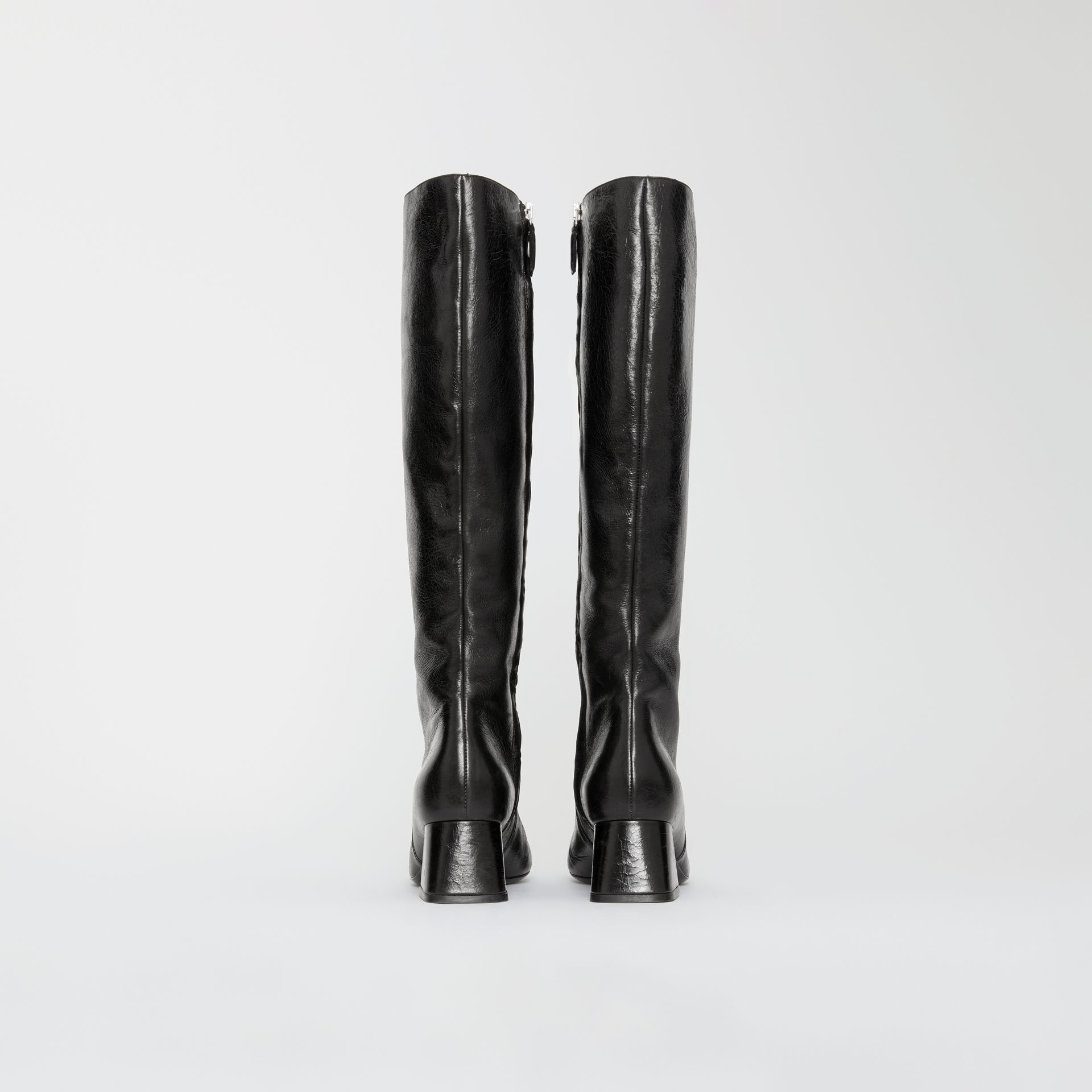 Stud Detail Leather Knee-high Boots in Black - Women | Burberry Hong Kong - gallery image 4