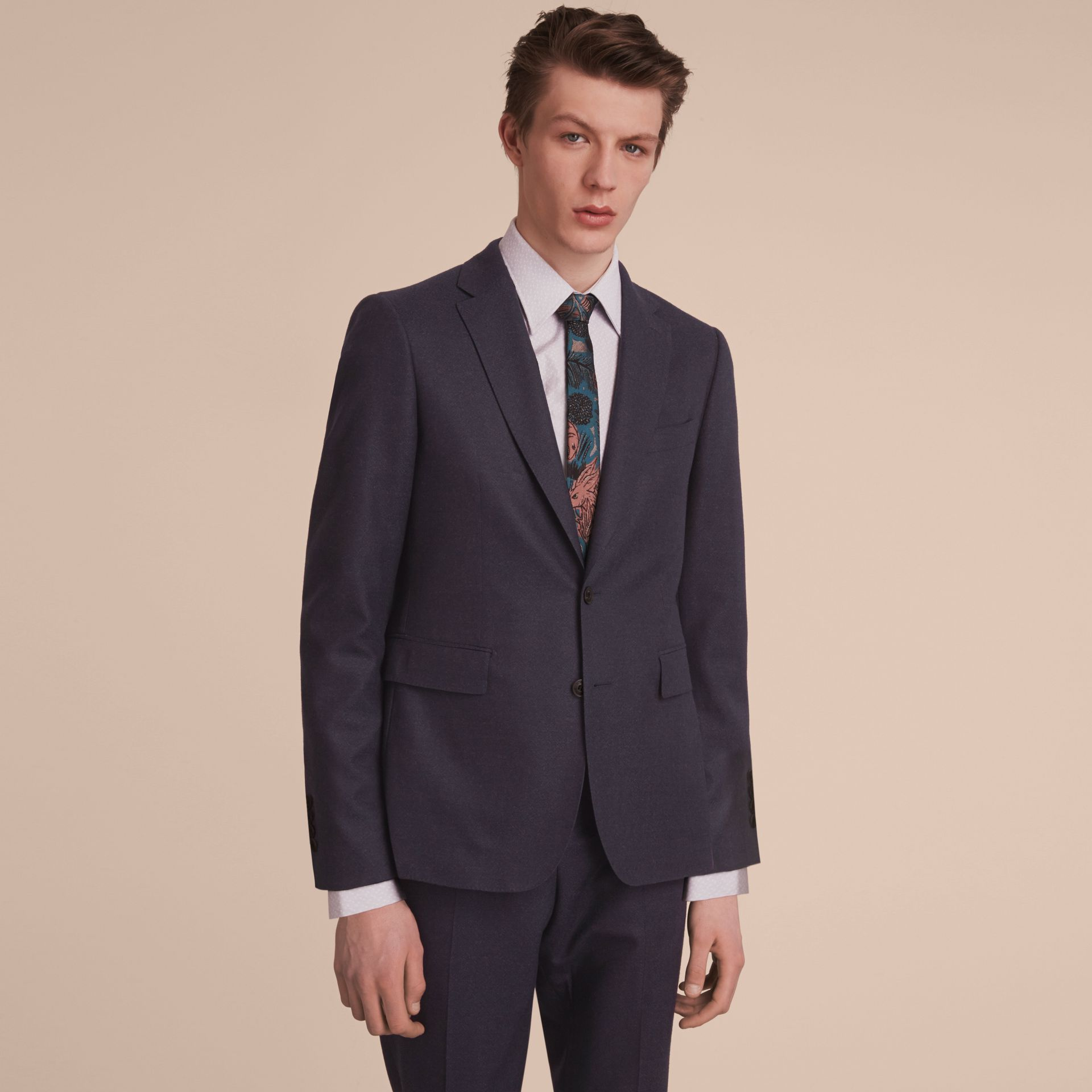 Soho Fit Wool Flannel Suit in Navy Melange - Men | Burberry - gallery image 7