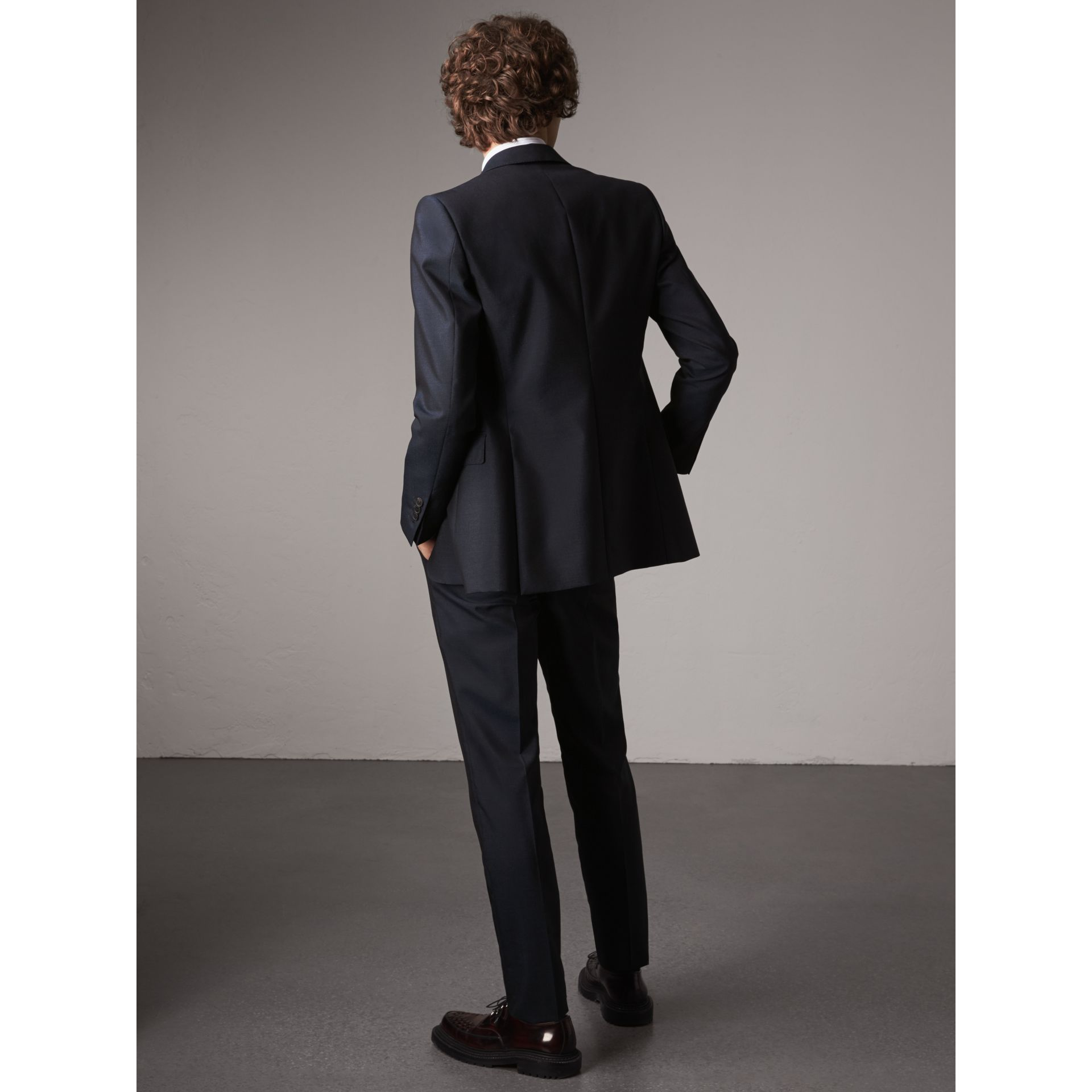 Slim Fit Mohair Half-canvas Suit in Navy - Men | Burberry - gallery image 2