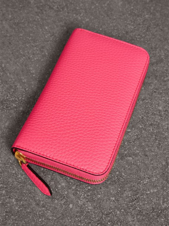 Embossed Leather Ziparound Wallet in Bright Pink - Women | Burberry United Kingdom - cell image 2